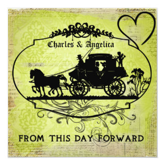 """Green Damask From This Day Forward  Wedding Invite 5.25"""" Square Invitation Card"""