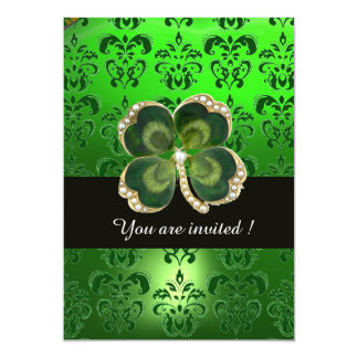 GREEN DAMASK,GOLD SHAMROCK JEWEL WITH WHITE PEARLS 5X7 PAPER INVITATION CARD