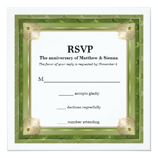 Green damask gold twist card