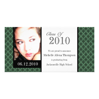Green Damask Graduation Announcement Photo Cards