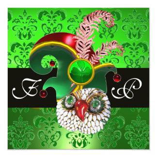 GREEN DAMASK ,JEWEL OWL ,ELF HAT,DIAMOND  FEATHERS CARD