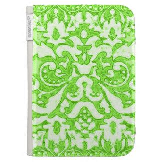 Green Damask Kindle Case