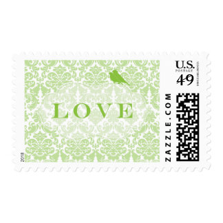 Green Damask Love Birds Postage