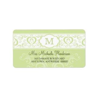 Green Damask Monogram Address Label label