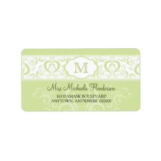 Green Damask Monogram Address Label