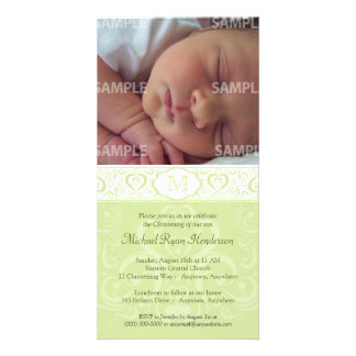 Green Damask Monogram Baptism/Christening Card