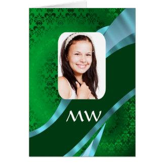 Green damask monogram photo template card