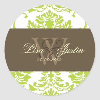 Green Damask monogram wedding stickers