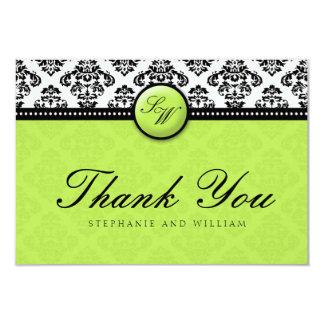 Green Damask Monogram Wedding Thank You Card