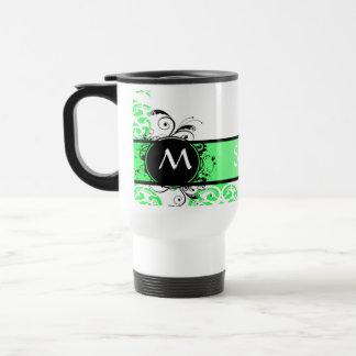 Green damask monogrammed mugs
