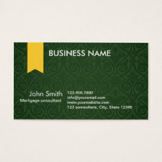 Green Damask Mortgage Agent Business Card at Zazzle