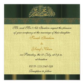 Green Damask Muslim wedding Card