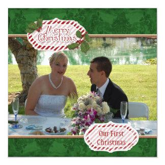Green Damask n Holly Photo Christmas Card