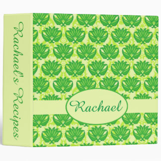 Green Damask Name Personalized Notebook Album Binder