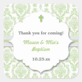 Green Damask neutral gen Christening Baptism favor Square Sticker