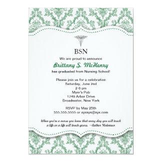 Green Damask Nurse graduation pinning invites