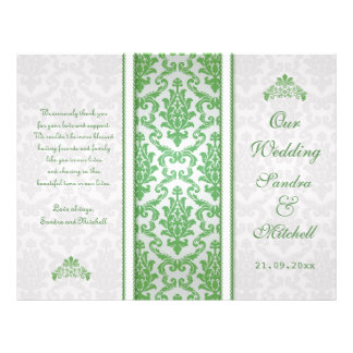 Green damask on silver Wedding Program