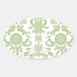 Green Damask Oval Sticker