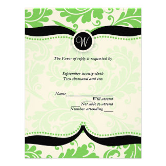 Green damask Paisley Wedding RSVP Personalized Invites