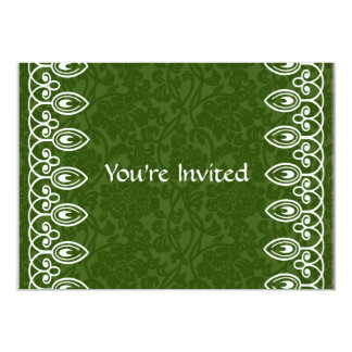 Green Damask Party Invitation