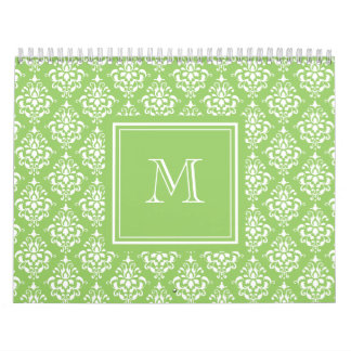 Green Damask Pattern 1 with Monogram Wall Calendars