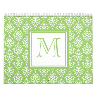 Green Damask Pattern 1 with Monogram Wall Calendar