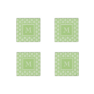 Green Damask Pattern 1 with Monogram Stone Magnet