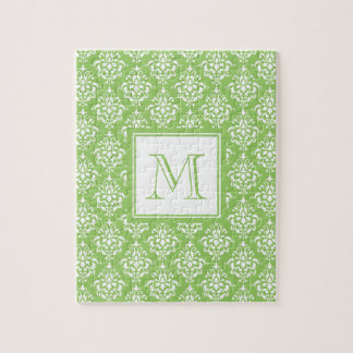 Green Damask Pattern 1 with Monogram Jigsaw Puzzle