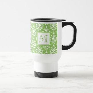 Green Damask Pattern 1 with Monogram Mugs