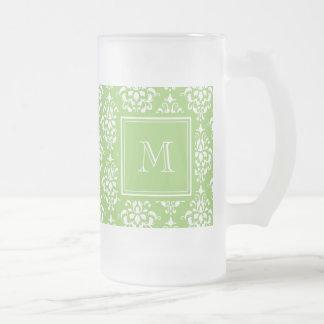 Green Damask Pattern 1 with Monogram Coffee Mug
