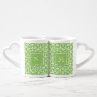 Green Damask Pattern 1 with Monogram Couple Mugs