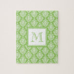 Green Damask Pattern 1 with Monogram Puzzle
