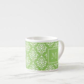 Green Damask Pattern 1 with Monogram Espresso Mug