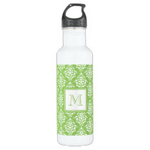 Green Damask Pattern 1 with Monogram Stainless Steel Water Bottle