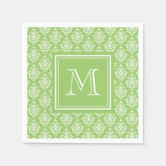 Green Damask Pattern 1 with Monogram Disposable Napkins
