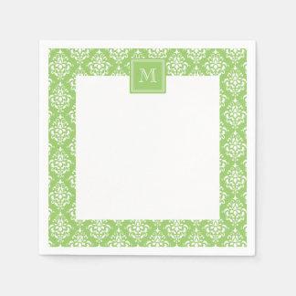 Green Damask Pattern 1 with Monogram Paper Napkin