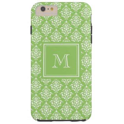 Green Damask Pattern 1 with Monogram Tough iPhone 6 Plus Case