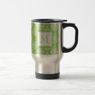 Green Damask Pattern 1 with Monogram Travel Mug
