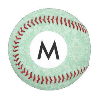 Green damask pattern baseball
