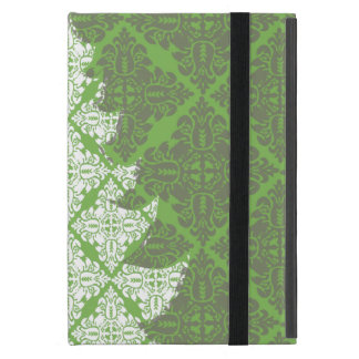 Green Damask Pattern Christmas Tree Cases For iPad Mini
