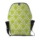 Green Damask Pattern Commuter Bag