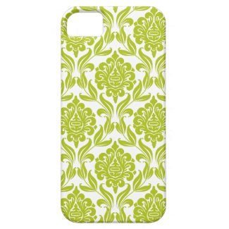 Green Damask Pattern Iphone 5 Cases