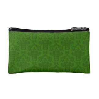 Green Damask Pattern Makeup Bag