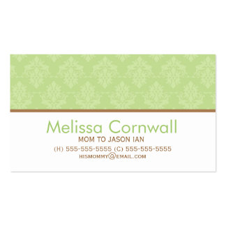 Green Damask Pattern Mom Calling Cards Business Card Template