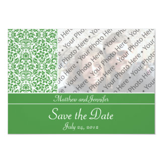 Green Damask Photo Save the Date Announcement Invites