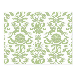 Green Damask Postcard