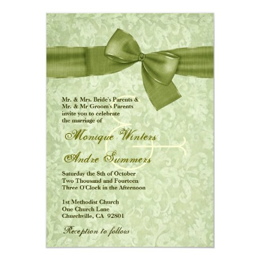 Green Damask Printed Olive Faux Bow Wedding No 013 Custom Invite