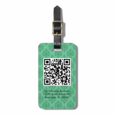 Professional Business Green Damask QR CODE Custom Luggage Tag