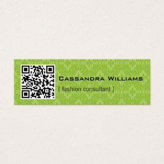 Green Damask QR CODE Mini Business Cards