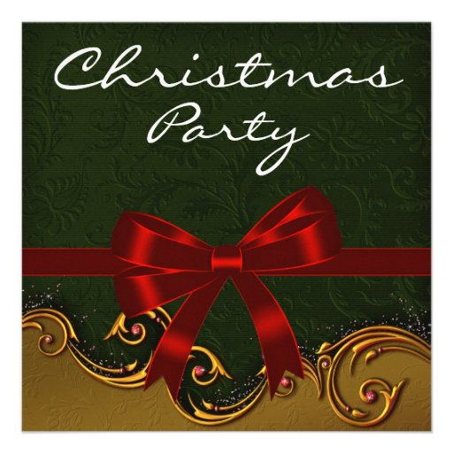 Green Damask Red Gold Christmas Party Invites